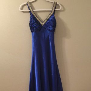 Beaded V-neck Floor Length Gown